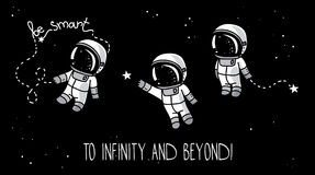 Drie leuke hand getrokken astronauten met sterren die in ruimte drijven Stock Foto's