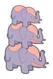 Drie leuke olifantenvector Royalty-vrije Stock Afbeeldingen