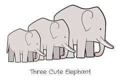 Drie leuke olifantenvector Royalty-vrije Stock Afbeelding