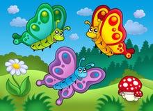 Drie leuke vlinders op weide Stock Foto's