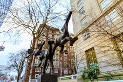 Drie lopend paardenstandbeeld bij Gus J Solomon United States Royalty-vrije Stock Foto's