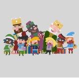 Drie Magische Koningen die kinderen gifting 3d stock illustratie