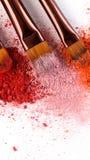 Drie Make-upborstels met blozen van roze, rood en koraaltonen royalty-vrije stock afbeelding