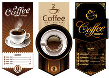 Drie malplaatjes van het koffieontwerp Stock Afbeeldingen