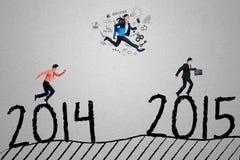 Drie managers concurreren om nummer 2015 te bereiken Stock Foto