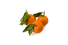 Drie mandarijnen aardig en sappig met bladeren Royalty-vrije Stock Foto's