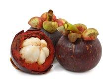 Drie mangostans Stock Foto's