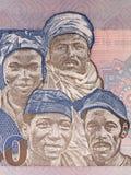 Drie mannen en een vrouw van verschillende etnische groepen Stock Afbeelding