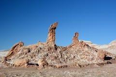 Drie Maries-rotsvormingen Valle DE La Luna of Maanvallei San Pedro de Atacama chili royalty-vrije stock foto's