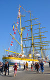 Drie-masted bark Mircea in de haven van Sotchi Rusland Royalty-vrije Stock Foto's