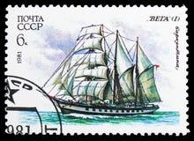 Drie-Masted barquentine 'Vega ', Kadet Varende Vloot van de USSR serie, circa 1981 royalty-vrije stock foto