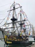 Drie-Masted fregat van de Franse die Marine Hermione bij de Armada 2019 uitgave wordt genoemd in Rouen Normandië Frankrijk stock foto
