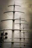 Drie masten en radar op Sepia Stock Afbeeldingen