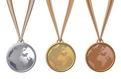 Drie medailles Stock Afbeeldingen
