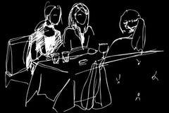 Drie meisjes bij een lijst in een koffie Royalty-vrije Stock Afbeelding