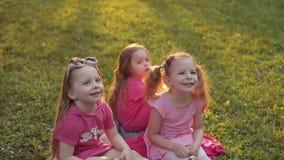 Drie meisjes die op gras in park en het lachen zitten stock footage
