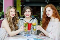 Drie meisjes drinken heerlijke thee van munt, aardbei en citrusvrucht Concept dranken, vergadering, pret en partij royalty-vrije stock foto