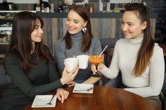 Drie meisjes komen in koffie samen Drinkende dranken en het spreken van elkaar royalty-vrije stock afbeelding