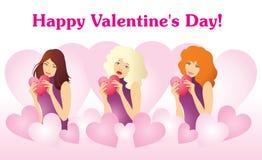 Drie meisjes met harten in de handen van de Dagsymbolen van Valentine Vector vector illustratie