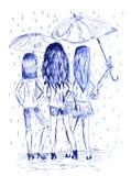 Drie meisjes met paraplu's Monochromatisch hand getrokken beeld door inktpen royalty-vrije illustratie