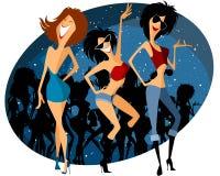 Drie meisjes op partij royalty-vrije illustratie