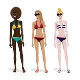 Drie meisjes van verschillende huidtypes in het baden Royalty-vrije Stock Afbeeldingen