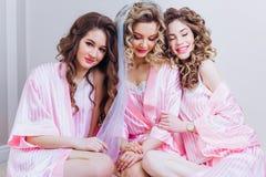 Drie meisjes vieren een een vrijgezelpartij of verjaardag stock foto