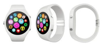 Drie menings Wit rond slim horloge op witte achtergrond stock afbeeldingen