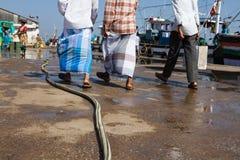 Drie mensen in de vissershaven Stock Afbeelding