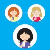 Drie mensen - een vrouw en twee meisjes worden verbonden via een cellula royalty-vrije illustratie