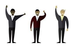 Drie mensen van verschillende rassen royalty-vrije illustratie