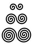 Drie met elkaar verbonden dubbele spiralen over wit Stock Fotografie
