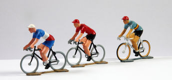 Drie Metaal ModelCyclists Stock Afbeelding