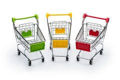 Drie mini shopphing manden Stock Afbeeldingen