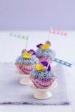 Drie minicupcakes Royalty-vrije Stock Afbeelding