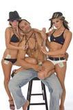 Drie modellen het stellen Stock Afbeeldingen