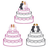 De Cakes van het huwelijk stock illustratie