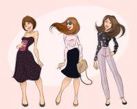 Drie moderne mooie meisjes royalty-vrije illustratie