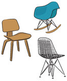Drie moderne ontwerpstoelen Stock Fotografie