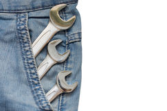 Drie Moersleutels in de Zak van de Jeans Stock Afbeelding