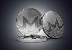 Drie Monero muntstuk van het cryptocurrency het fysieke concept op zacht aangestoken donkere achtergrond stock illustratie
