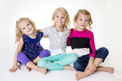 Drie Mooi Meisjesportret royalty-vrije stock foto