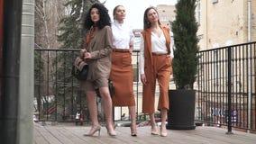 Drie mooie jonge meisjes in pakken Bedrijfs stijl stock videobeelden