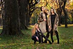 Drie mooie jonge modellen in de herfst elegante kleren die bij Central Park stellen stock fotografie