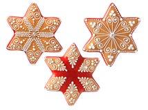 Drie mooie Kerstmiskoekjes royalty-vrije stock foto's