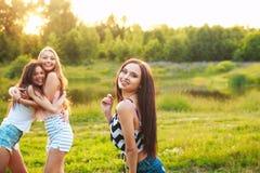 Drie mooie meisjes die en op zonsondergang in het park lopen lachen Het concept van de vriendschap Stock Foto's