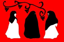 Drie mooie vrouwen in sluier stock illustratie