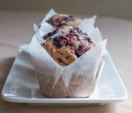 Drie Muffins van de Bosbes Stock Foto's