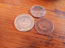 Drie muntstukken op een houten lijst: 2 convertibele tekens, 1 convertibele teken en pfennig 50 stock foto