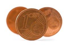 Drie muntstukken van één euro cent Royalty-vrije Stock Fotografie